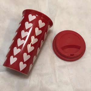 pier 1 red and white heart to go mug